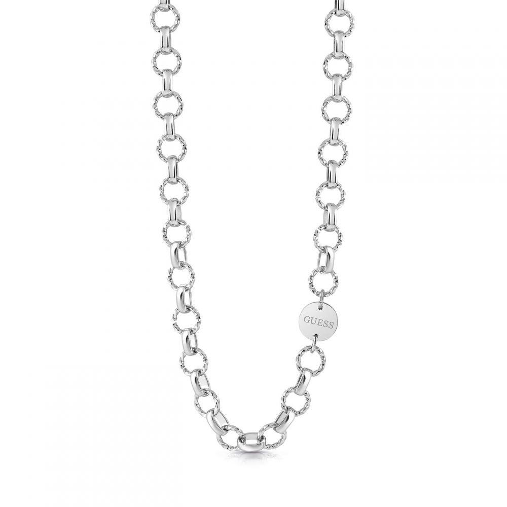 ゲス Guess レディース ネックレス ジュエリー・アクセサリー【Rhodium Plated Oval Chain Necklace】SILVER