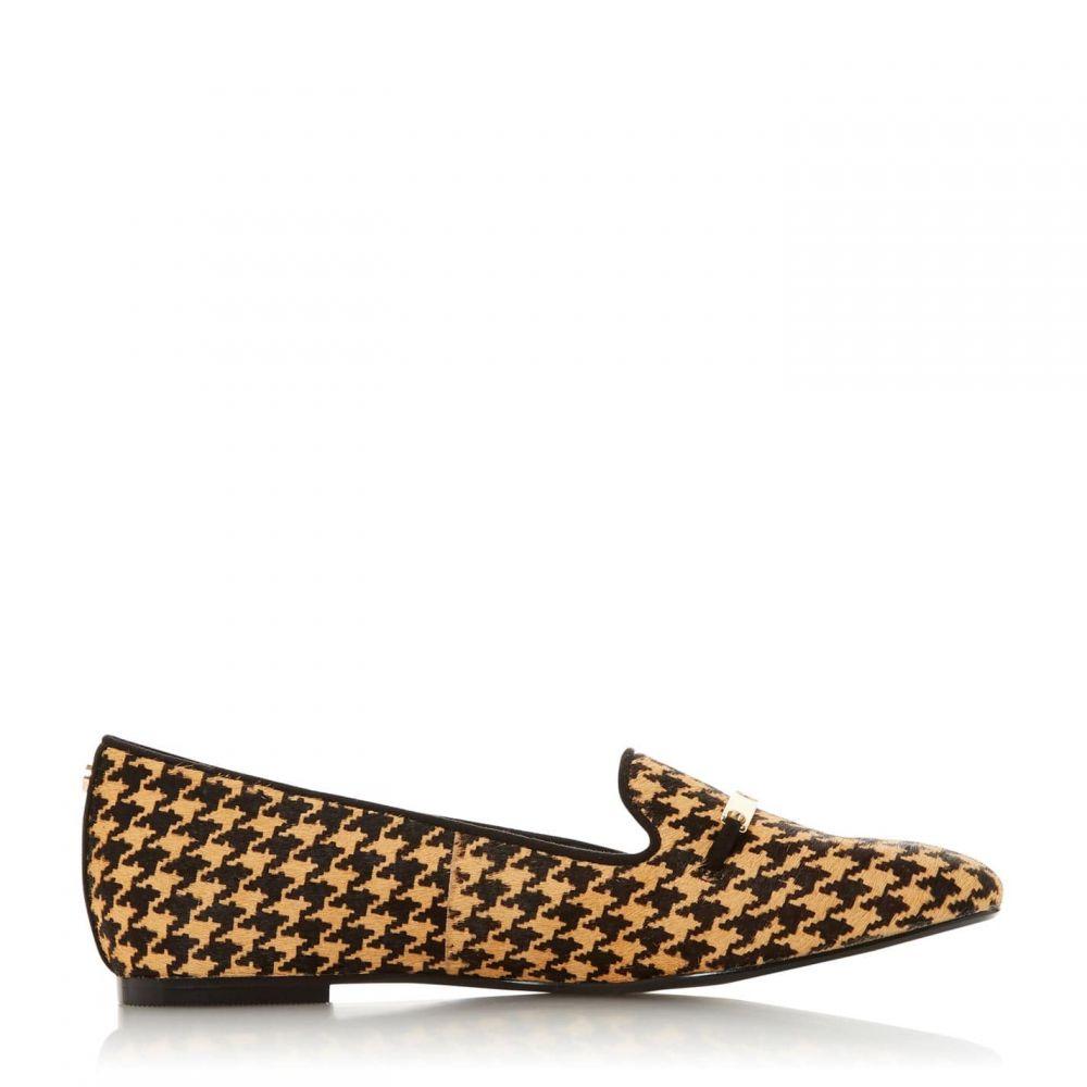 デューン Dune レディース ローファー・オックスフォード シューズ・靴【Graced Metal Saddle Trim Loafers】Dogtooth Print Leather
