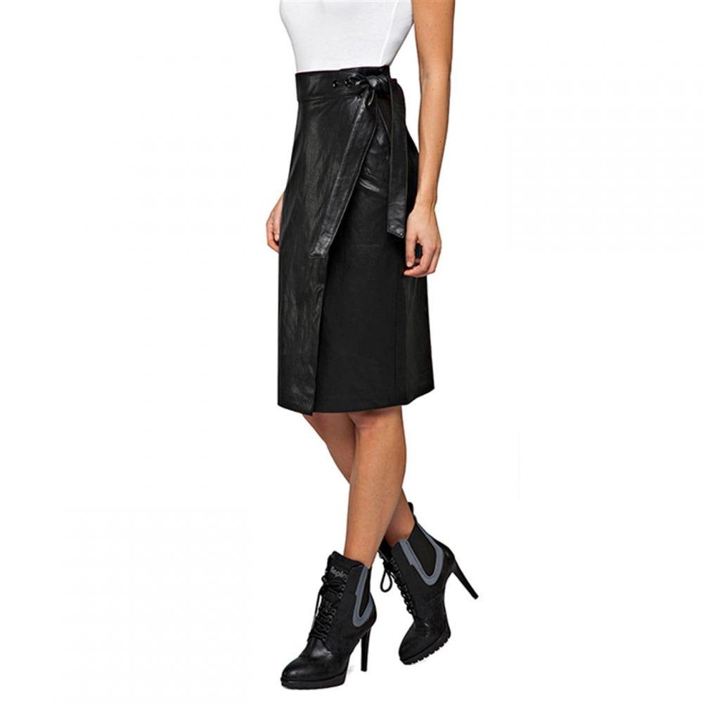 リプレイ Replay レディース ひざ丈スカート スカート【Eco-Leather Midi Skirt】Black
