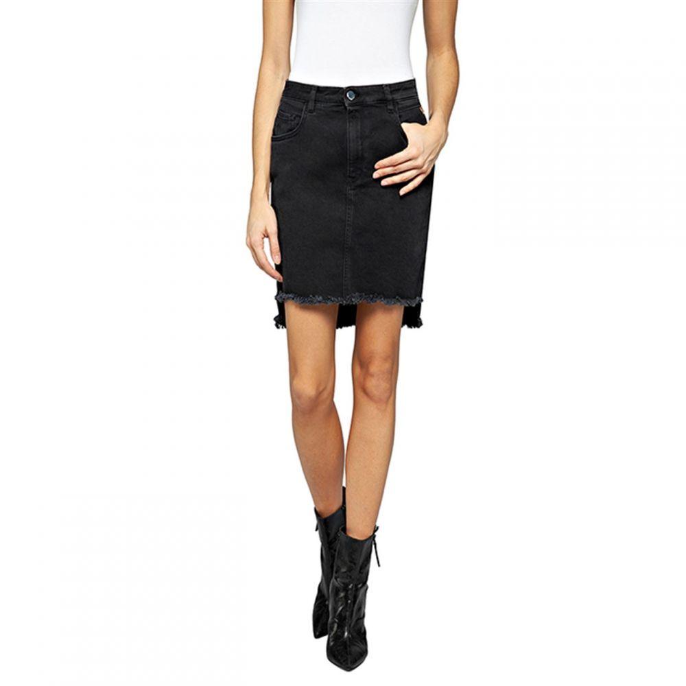 リプレイ Replay レディース ミニスカート デニム スカート【Denim Mini Skirt With Raw Cut】Black
