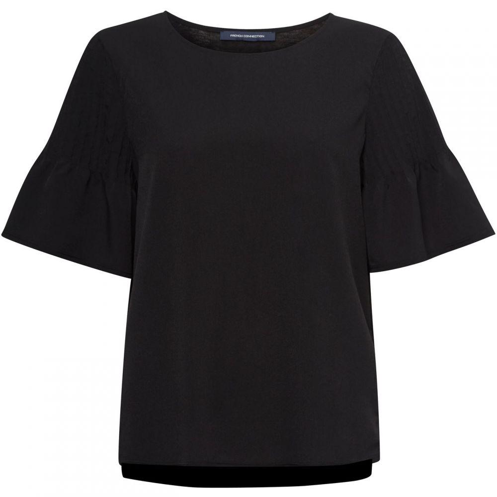 フレンチコネクション French Connection レディース Tシャツ トップス【Classic Crepe Pintuck Shoulder T-Shirt】Black