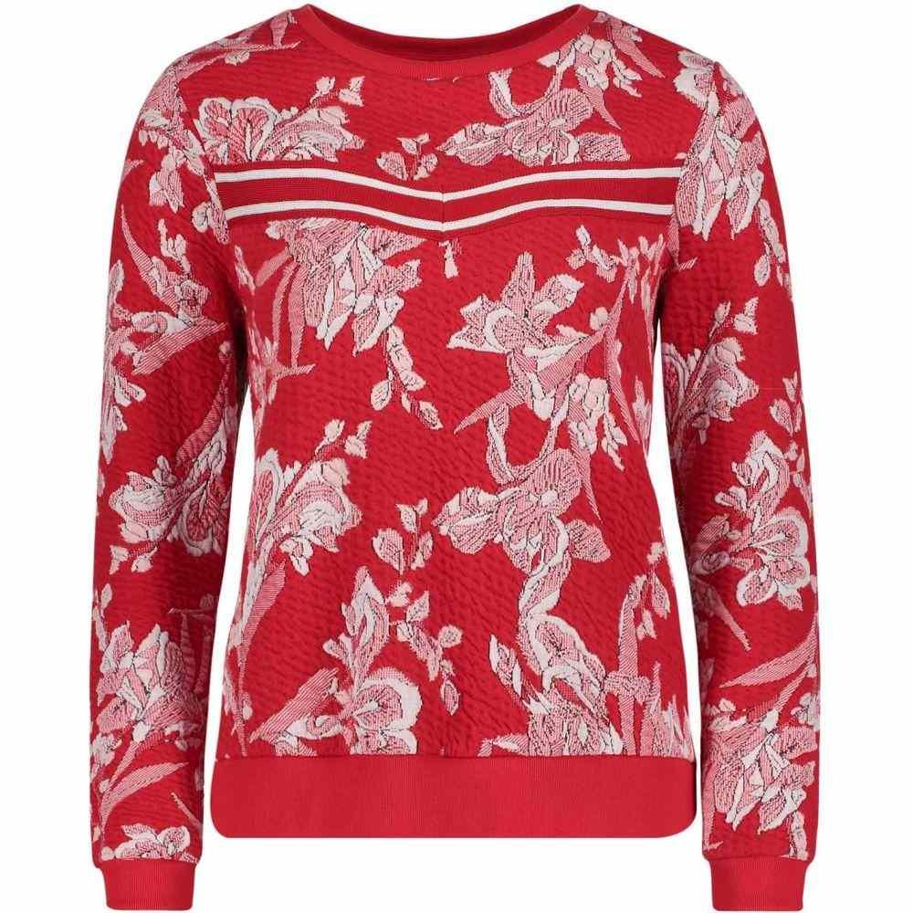 ベティー バークレイ Betty Barclay レディース スウェット・トレーナー トップス【Floral Textured Sweatshirt】White/Red
