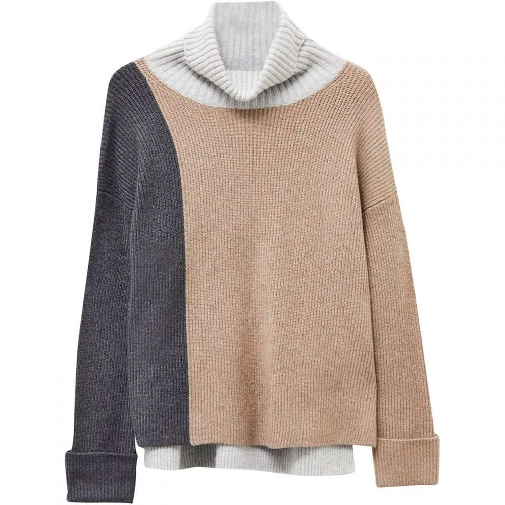 フレンチコネクション French Connection レディース ニット・セーター トップス【River Vhari Colour Block Roll Neck Jumper】Taupe Mel/Charcoal Mel/Light G