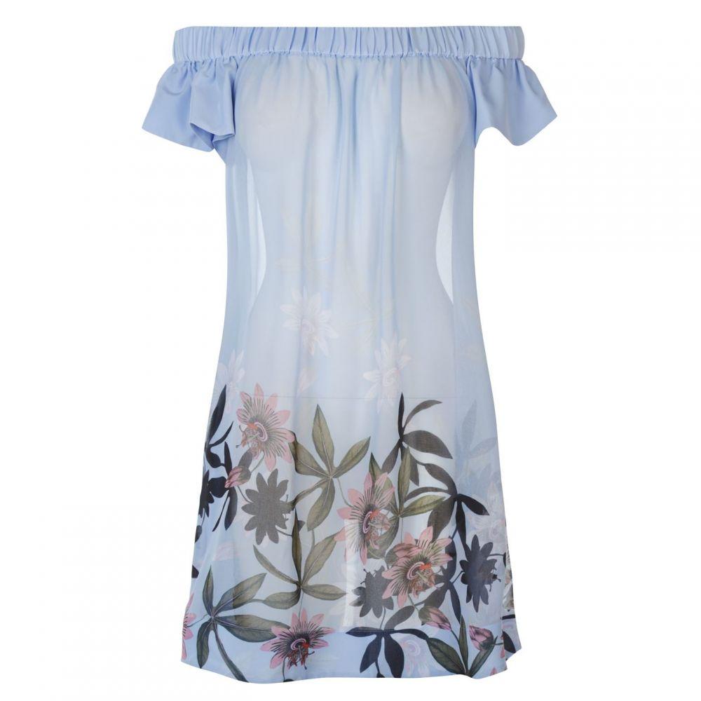テッドベーカー Ted Baker レディース ビーチウェア ワンピース・ドレス 水着・ビーチウェア【Ted Floral Bardot Dress】LT-BLUE
