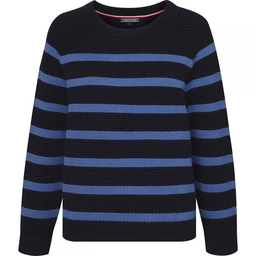 トミー ヒルフィガー Tommy Hilfiger レディース ニット・セーター トップス【Roxanne Texture Stripe Sweater】Navy