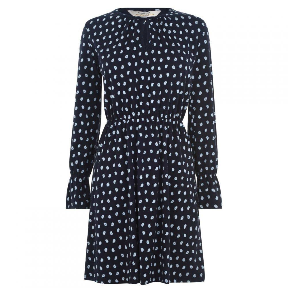 ピープル ツリー People Tree レディース ワンピース ワンピース・ドレス【Angela Print Dress】Navy
