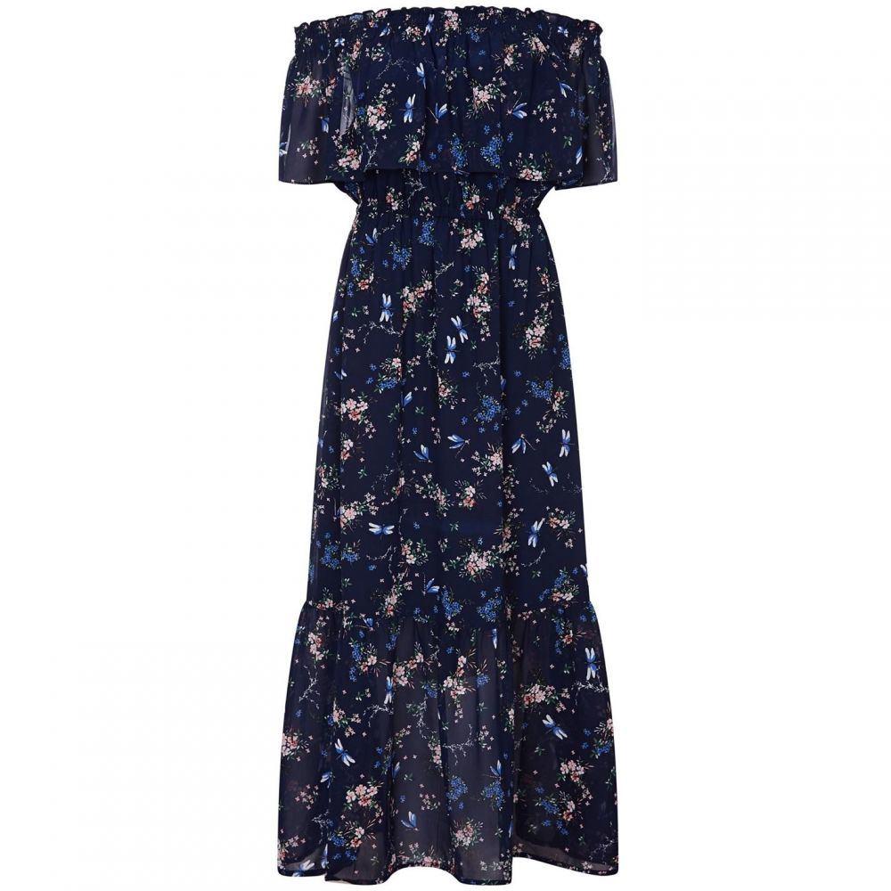 ユミ Yumi レディース ワンピース マキシ丈 ワンピース・ドレス【Dragonfly Print Bardot Maxi Dress】Navy
