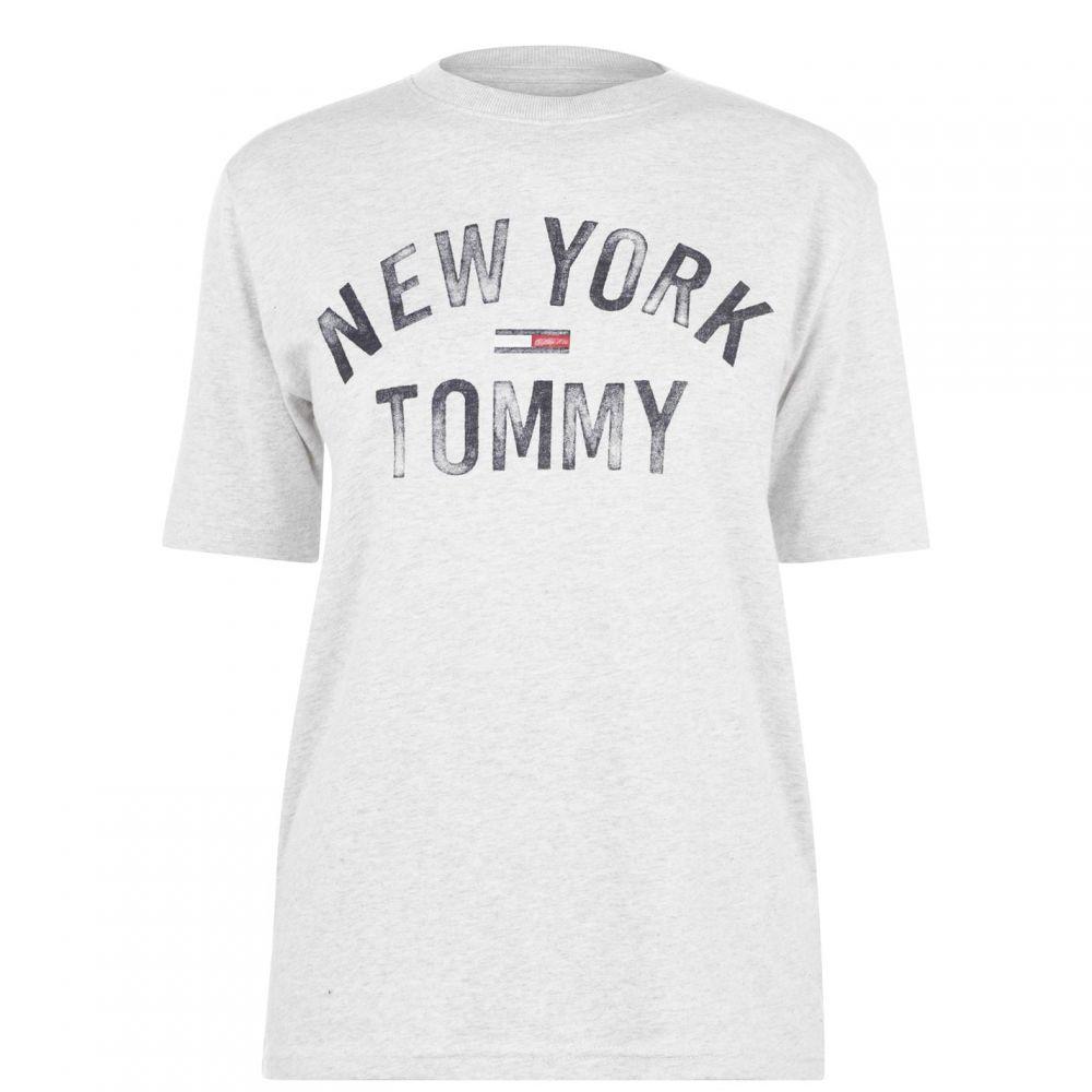 トミー ジーンズ Tommy Jeans レディース Tシャツ ロゴTシャツ トップス【Faded Logo T Shirt】PALE GREY HTR