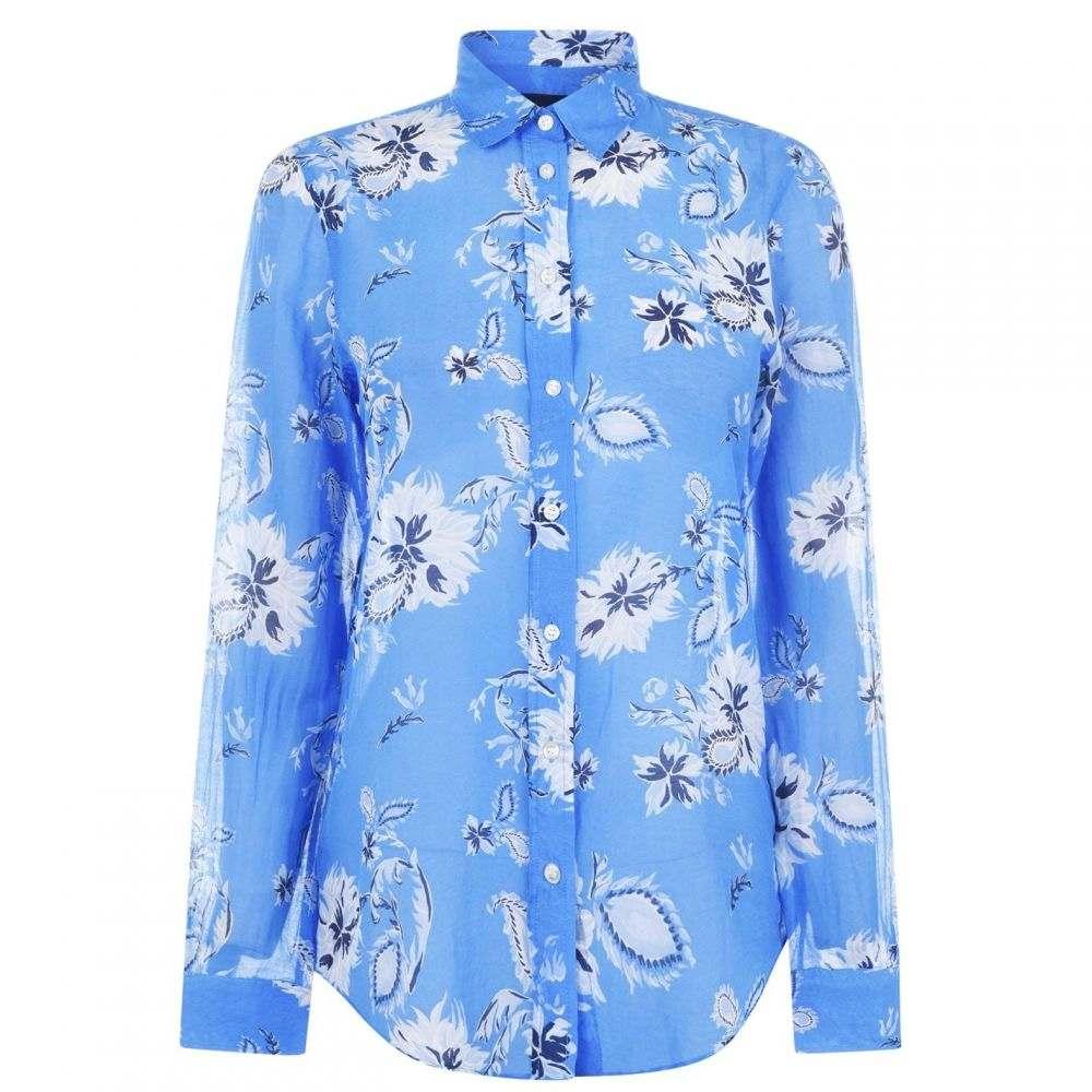 ガント Gant レディース ブラウス・シャツ トップス【Paisley Cotton Silk Shirt】Capri Blue