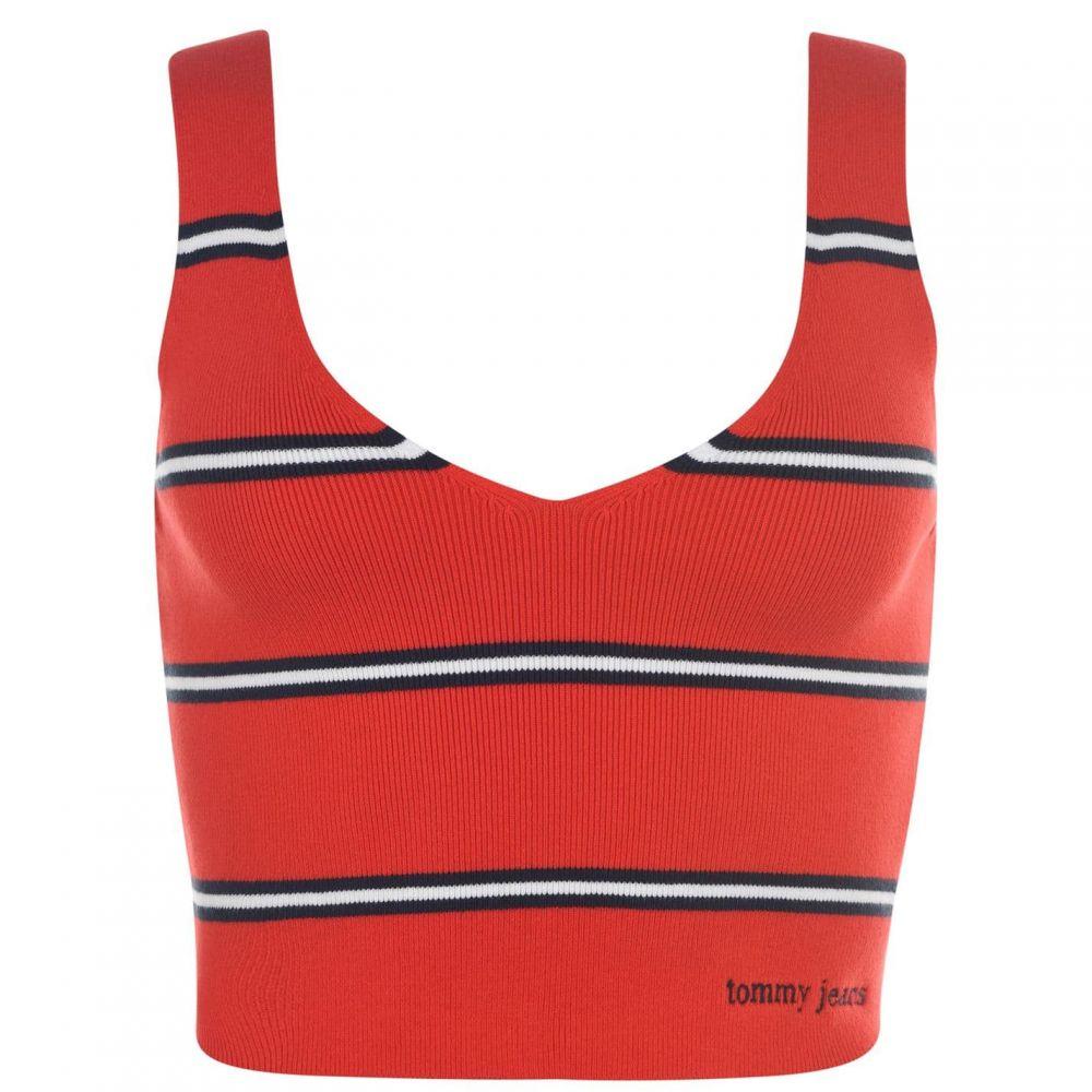 トミー ジーンズ Tommy Jeans レディース ベアトップ・チューブトップ・クロップド トップス【Crop Vest】Flame Scarlet