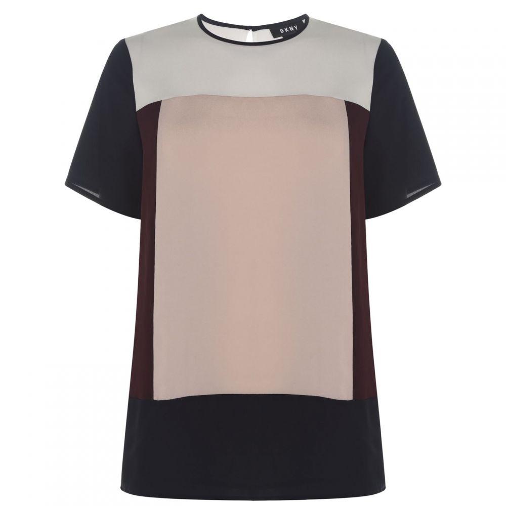 ダナ キャラン ニューヨーク DKNY レディース Tシャツ トップス【Short Sleeve Colour Block T Shirt】IVORY/SHIRAZ