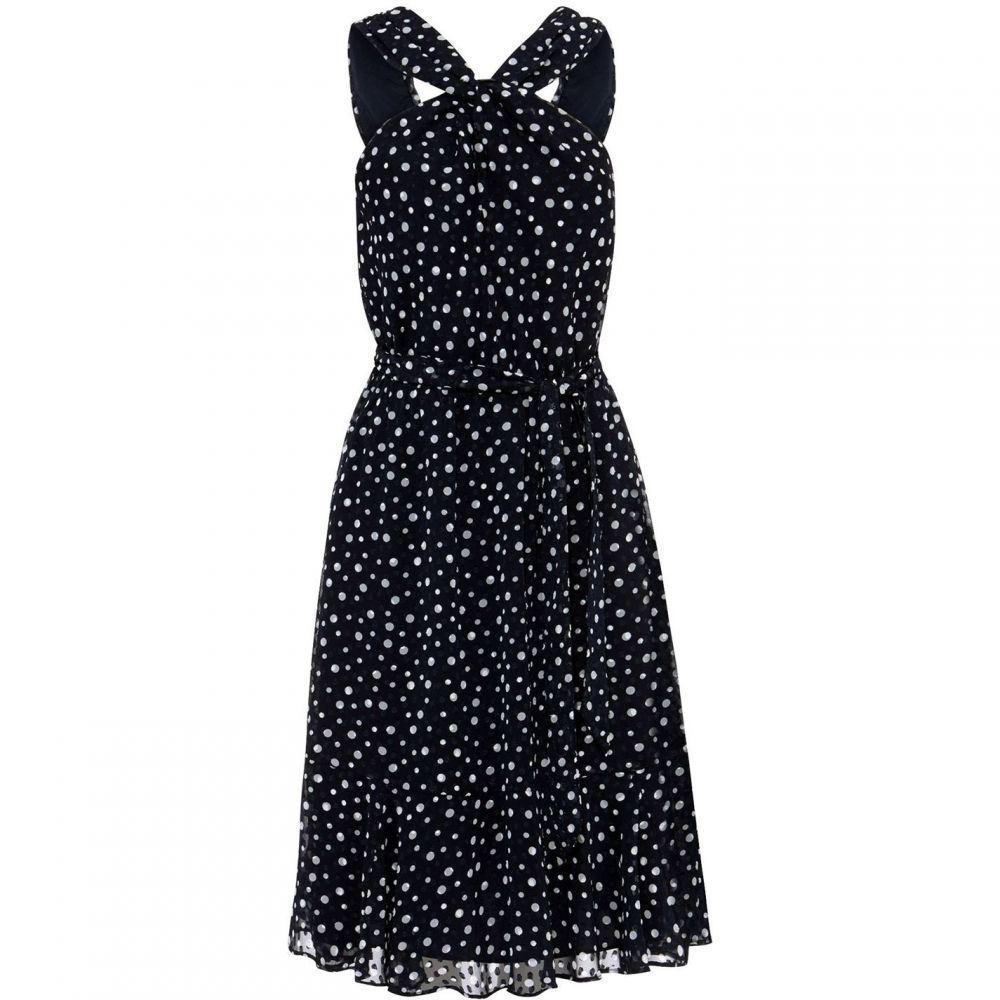 フェイズ エイト Phase Eight レディース ワンピース ワンピース・ドレス【Dotty Flocked Dress】Navy/Ivory