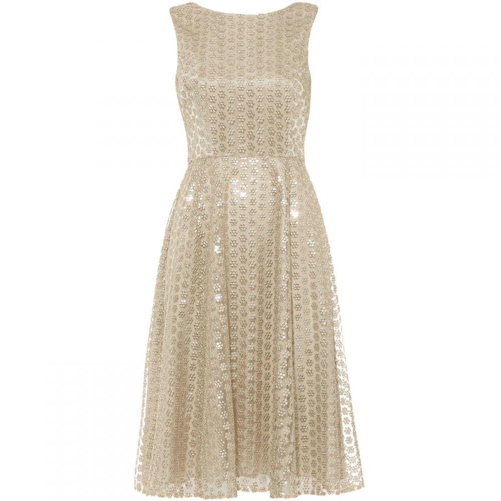 フェイズ エイト Phase Eight レディース ワンピース ワンピース・ドレス【Imani Sequin Embroidered Flower Dress】Gold