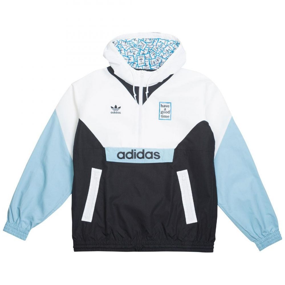 アディダス Adidas メンズ アウター ジャケット【x Have A Good Time Pullover Windbreaker Jacket】white / black / clear blue