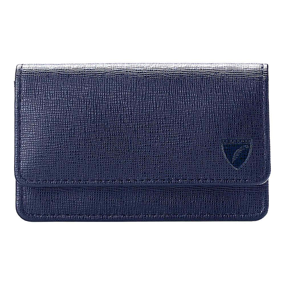 アスピナル オブ ロンドン aspinal of london メンズ アクセサリー カードケース【leather business and credit card case】Navy