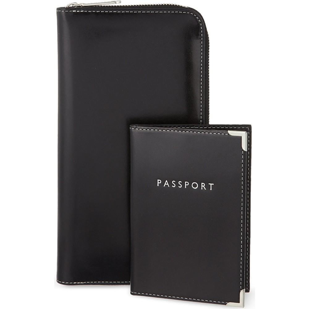 アスピナル オブ ロンドン aspinal of london メンズ アクセサリー パスポートケース【zipped travel wallet and passport cover】Black
