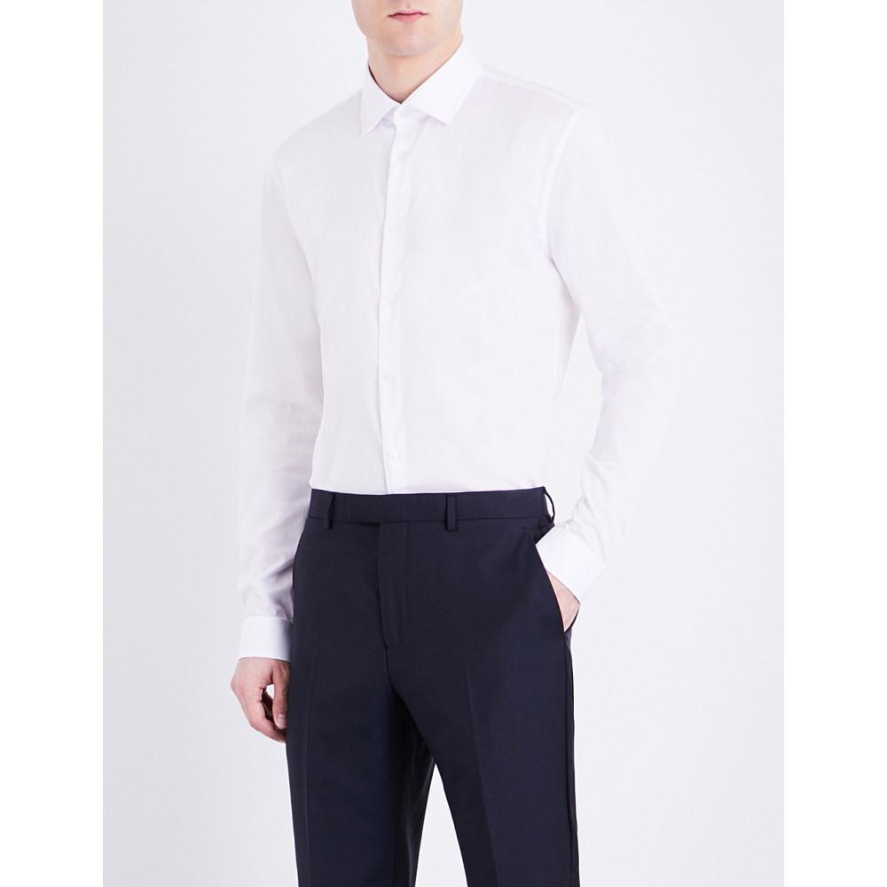 リース reiss メンズ トップス カジュアルシャツ【steer slim-fit cotton shirt】White