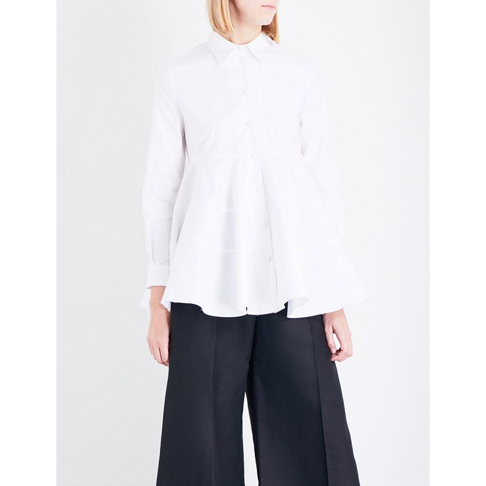 コー co レディース トップス カジュアルシャツ【flared-hem cotton-poplin shirt】White