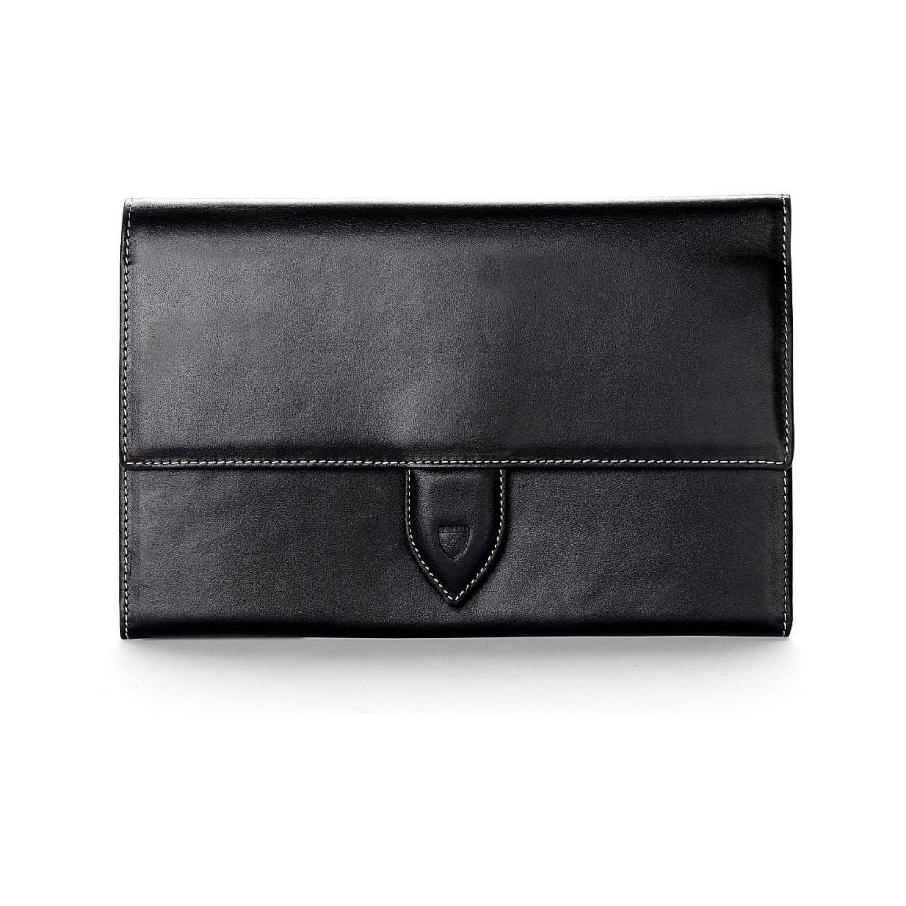 アスピナル オブ ロンドン aspinal of london メンズ アクセサリー パスポートケース【deluxe leather travel wallet】Black