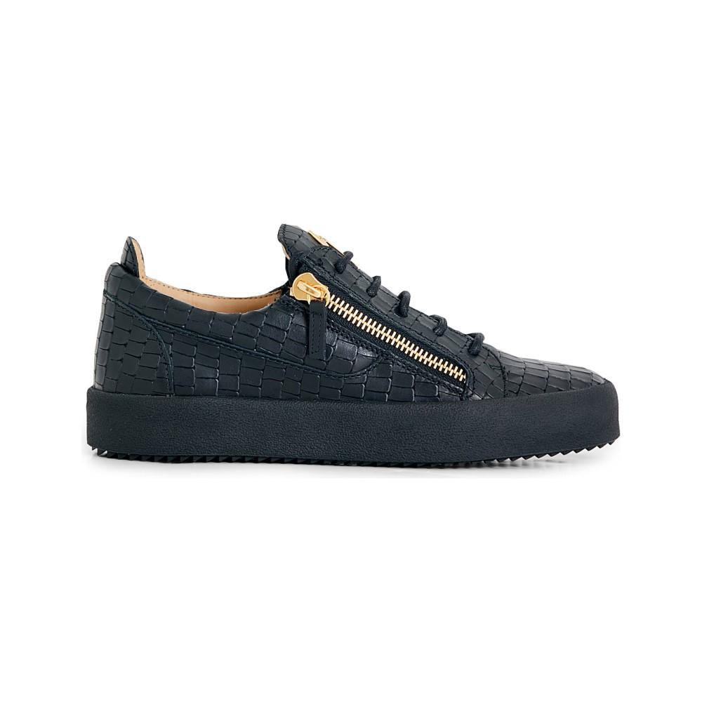 ジュゼッペ ザノッティ giuseppe zanotti メンズ トップス トレーナー【croc-effect leather trainers】Black