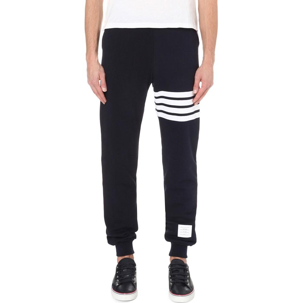 トム ブラウン thom browne メンズ ボトムス・パンツ スウェット・ジャージ【striped cotton-jersey jogging bottoms】Navy