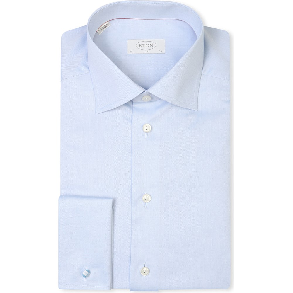 イートン eton メンズ トップス シャツ【slim-fit french-cuff cotton-twill shirt】Light blue