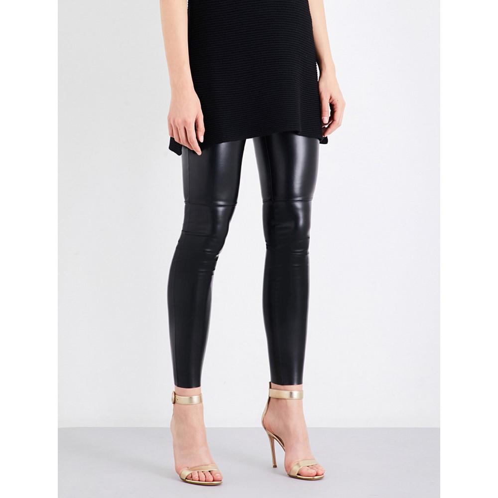 【限定セール!】 ウォルフォード WOLFORD WOLFORD レディース スパッツ faux-leather・レギンス インナー leggings】BLACK・下着【Estella faux-leather leggings】BLACK, 住まいるライト:e6d4e0d2 --- essexadvan.co.uk