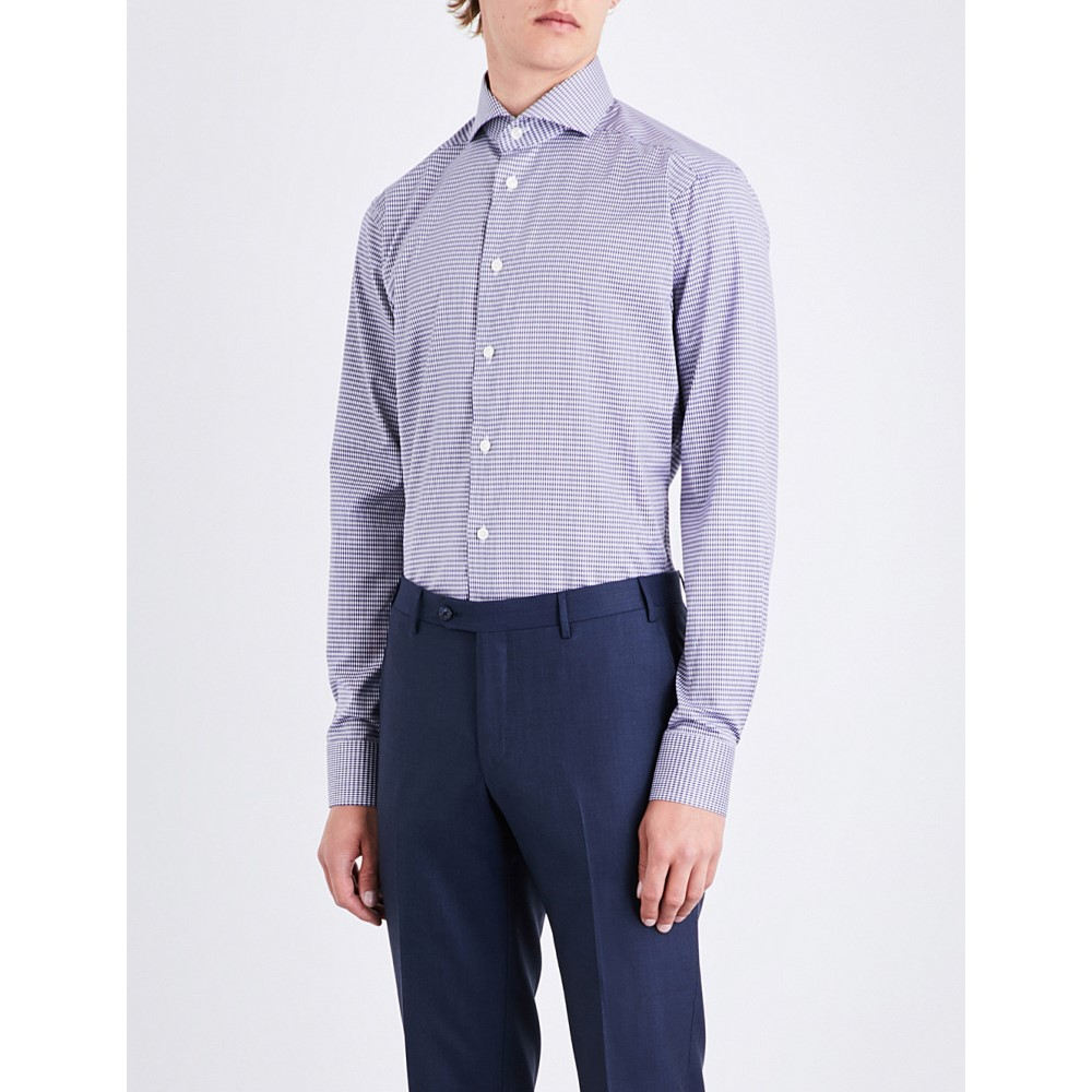 イートン メンズ トップス シャツ【checked cotton shirt】Blue