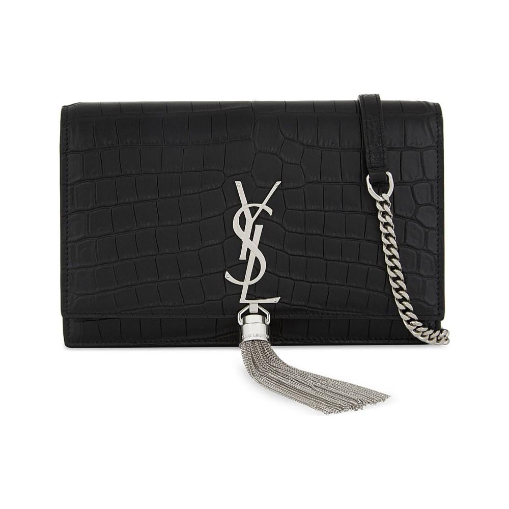 イヴ サンローラン レディース バッグ ショルダーバッグ【monogram kate crocodile-embossed leather wallet-on-chain】Black