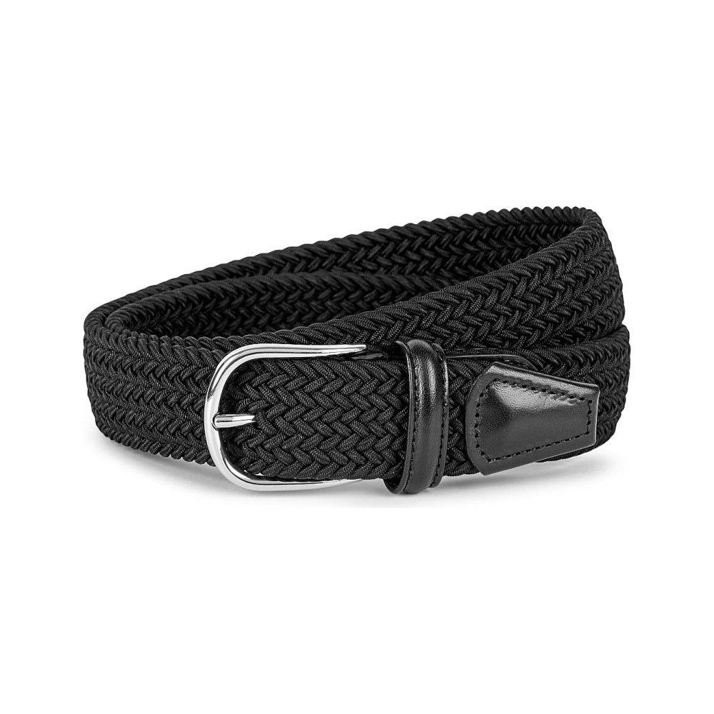 アンダーソンズ メンズ ベルト【woven elastic and leather belt】Black