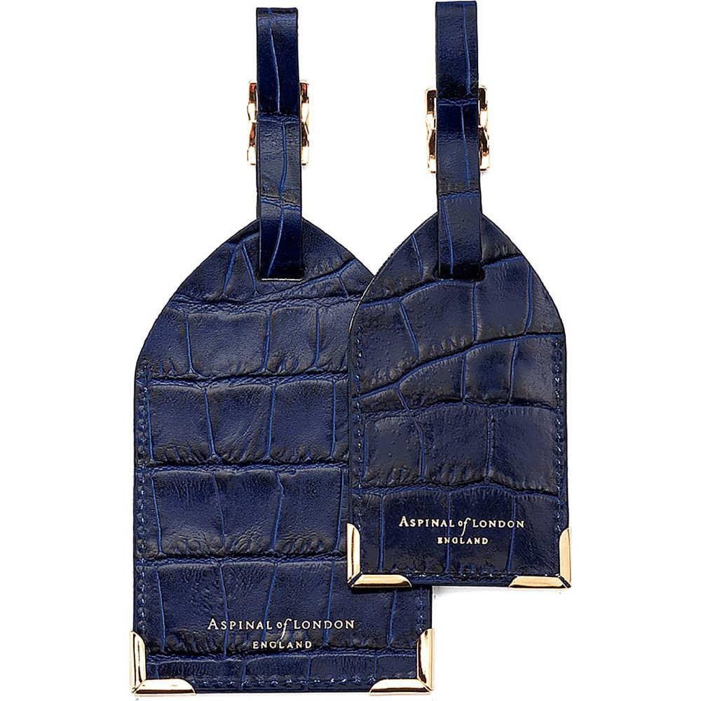 アスピナル オブ ロンドン メンズ キーホルダー【set of two lizard-embossed leather luggage tags】Blue