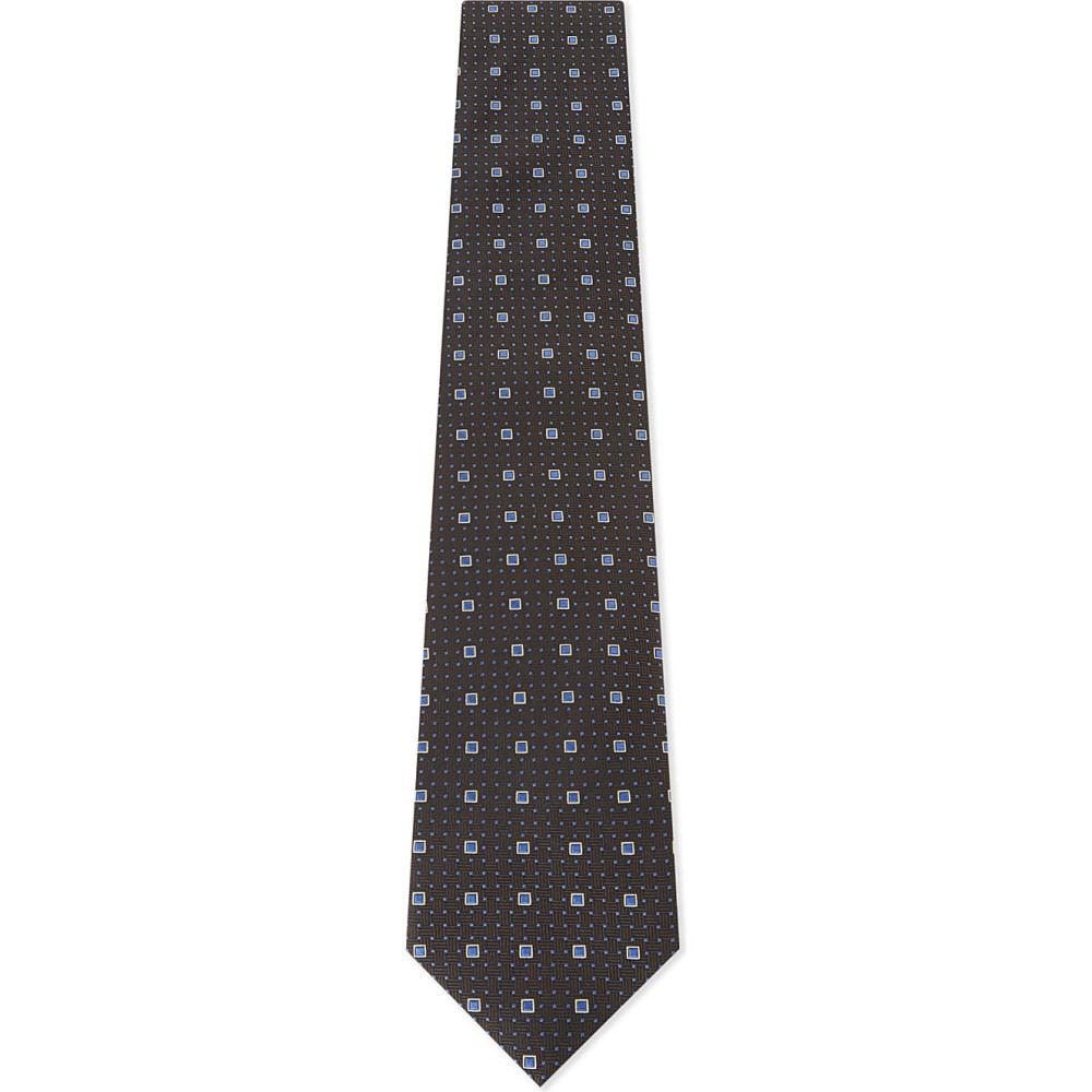 イートン メンズ ネクタイ【square print silk tie】Offwhite/brown
