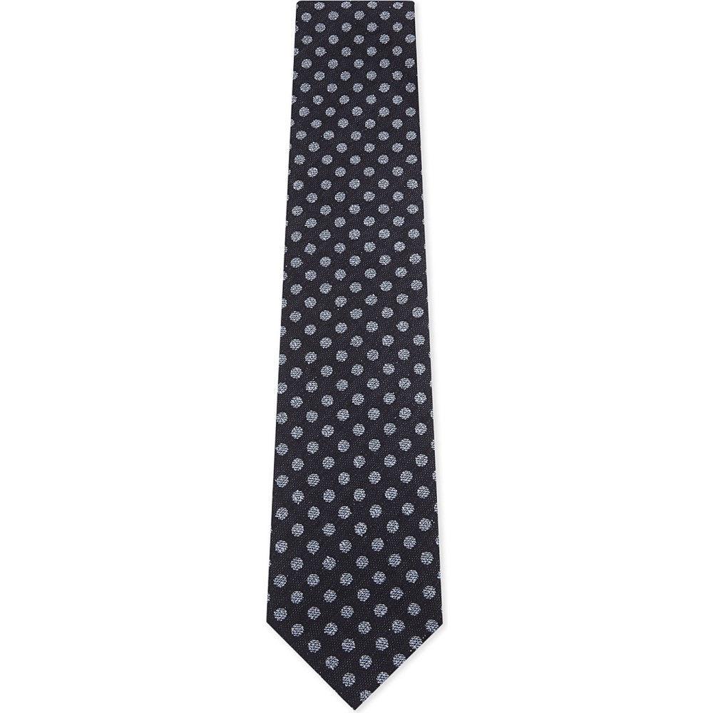 イートン メンズ ネクタイ【polka-dot silk-cotton tie】Blue