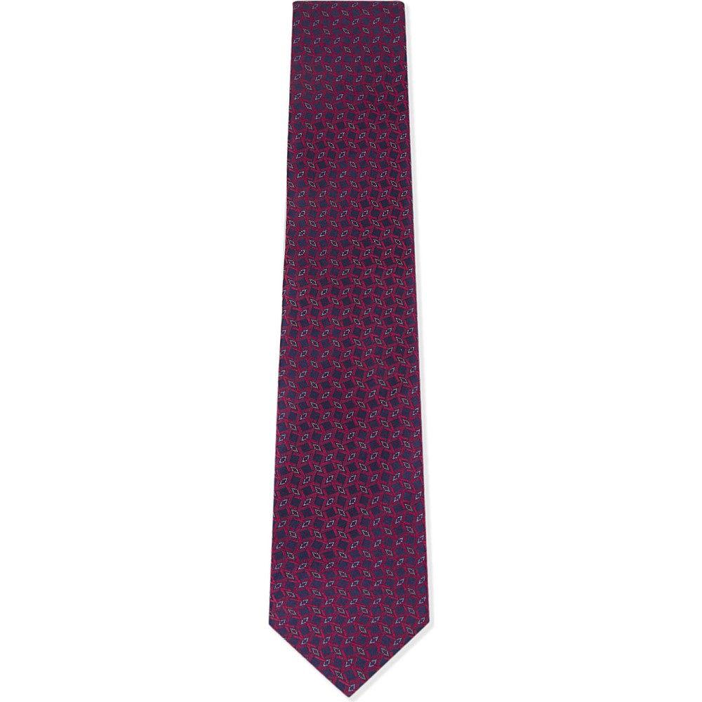 イートン メンズ ネクタイ【geometric diamond silk tie】Pink/red