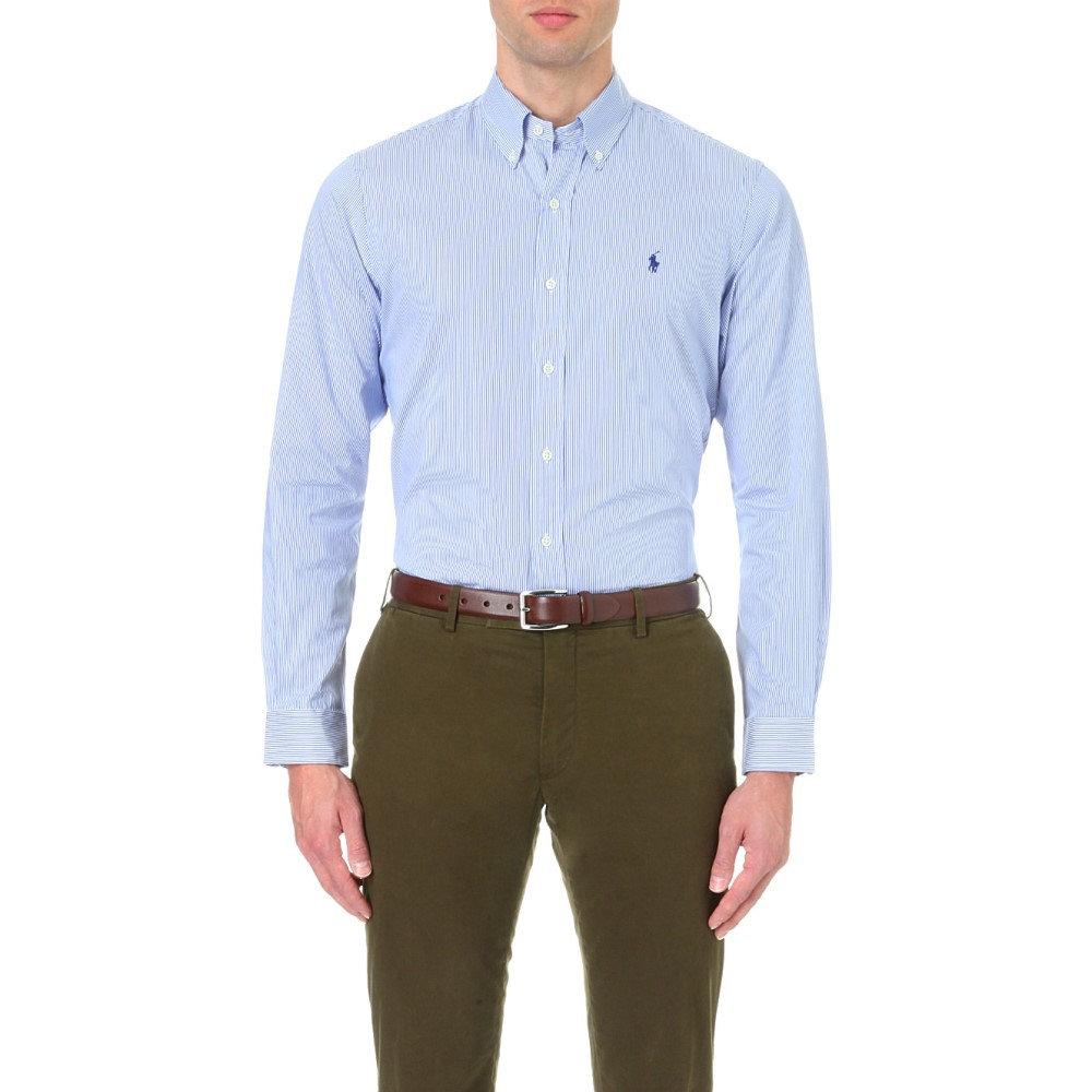 ラルフ ローレン メンズ トップス シャツ【standard-fit single-cuff striped cotton shirt】Blue wht stripe