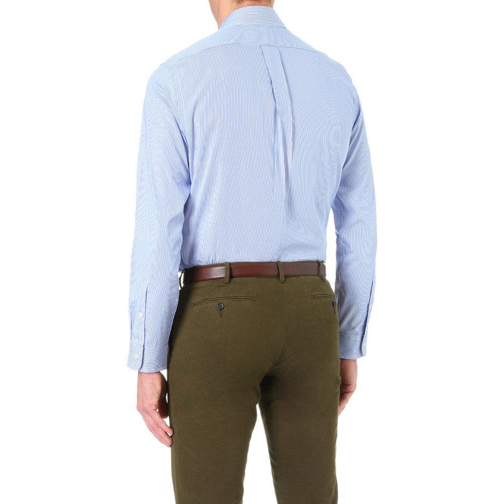 Men/'s Croft /& Barrow Blue Stripe Classic-Fit Easy Care Button Down Collar Shirt
