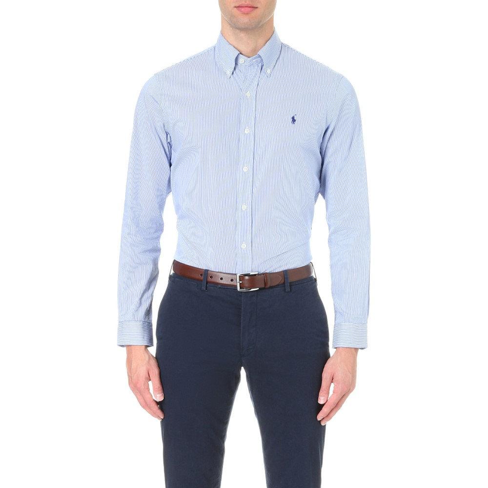 ラルフ ローレン メンズ トップス シャツ【slim-fit single-cuff checked shirt】Blue wht stripe