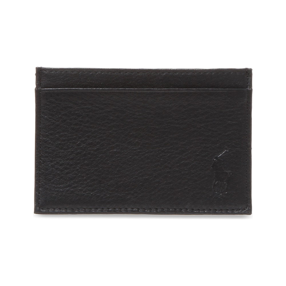 ラルフ ローレン メンズ カードケース・名刺入れ【pony-embossed leather card case】Black