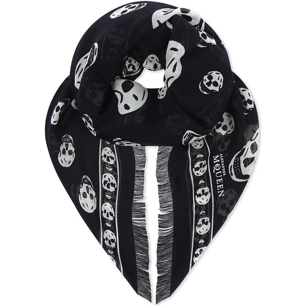 アレキサンダー マックイーン レディース マフラー・スカーフ・ストール【classic skull silk scarf】Black ivory
