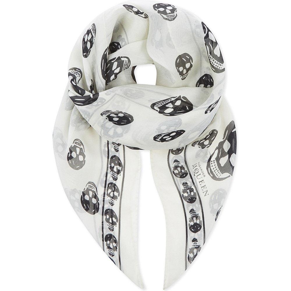 アレキサンダー マックイーン メンズ マフラー・スカーフ・ストール【skull print silk scarf】Ivory black