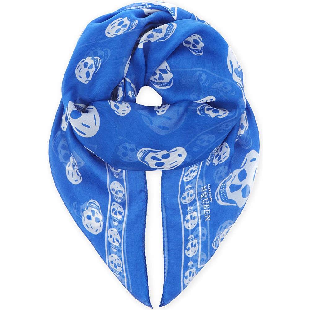 アレキサンダー マックイーン メンズ マフラー・スカーフ・ストール【skull print silk scarf】Royal white