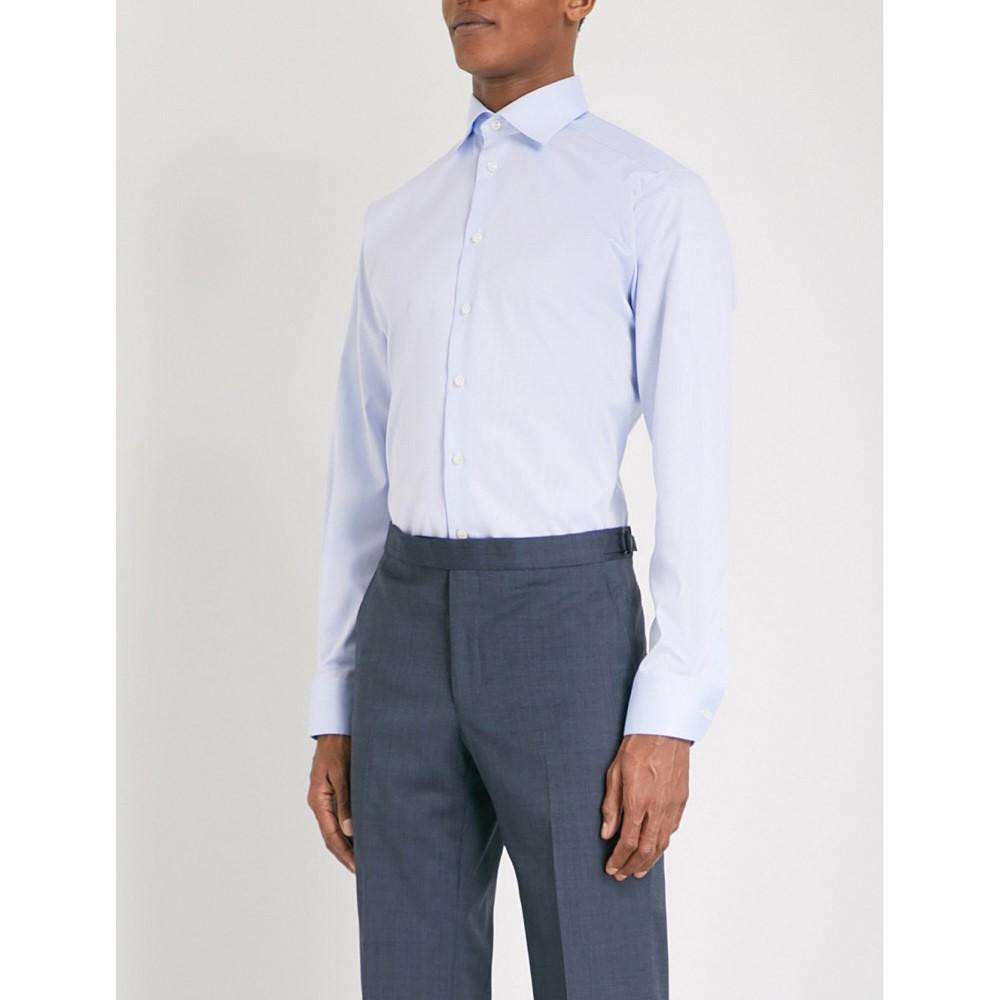 イートン メンズ トップス シャツ【contemporary-fit cotton-twill shirt】Light blue
