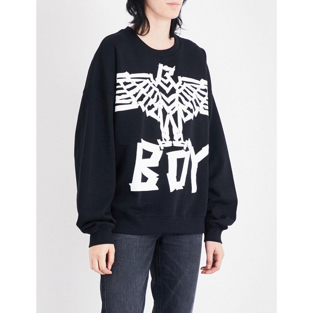 ボーイロンドン レディース トップス ブラウス・シャツ【eagle tape-print cotton-jersey sweatshirt】Black white