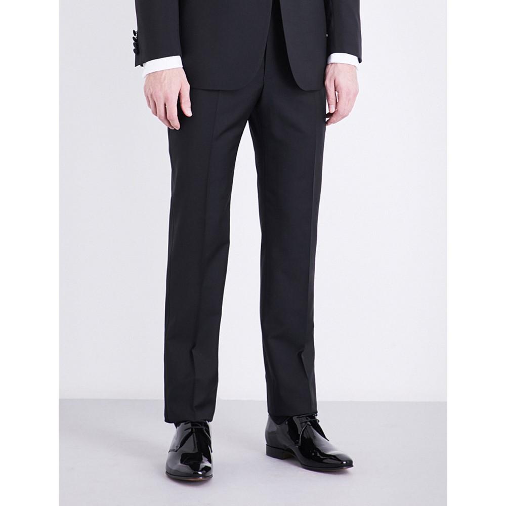 リチャード ジェームス メンズ ボトムス・パンツ スラックス【regular-fit tapered mid-rise wool and mohair-blend trousers】Black