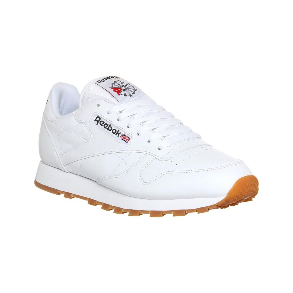 リーボック メンズ シューズ・靴 スニーカー【reebok cl leather trainers】White gum