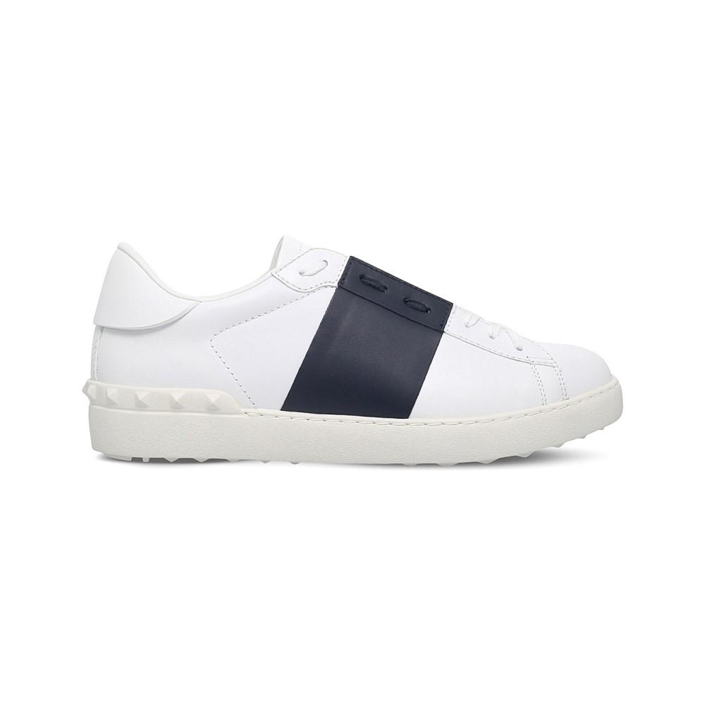 ヴァレンティノ メンズ シューズ・靴 スニーカー【open contrast-stripe leather trainers】White/navy