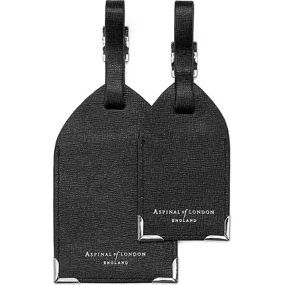 アスピナル オブ ロンドン メンズ キーホルダー【set of two luggage tags black saffiano】Black