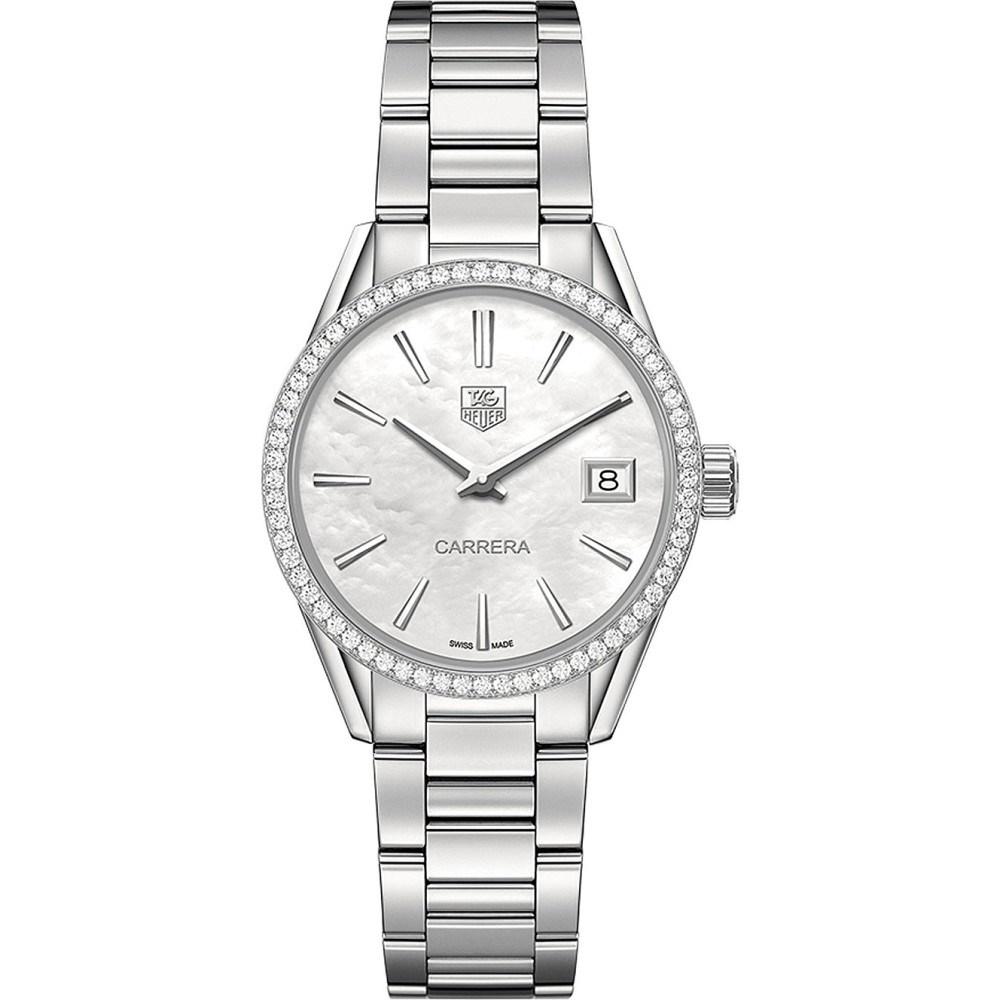 タグ ホイヤー レディース 腕時計【war1315.ba0773 carrera 64-diamond, mother-of-pearl and brushed stainless steel watch】Mother-of-pearl