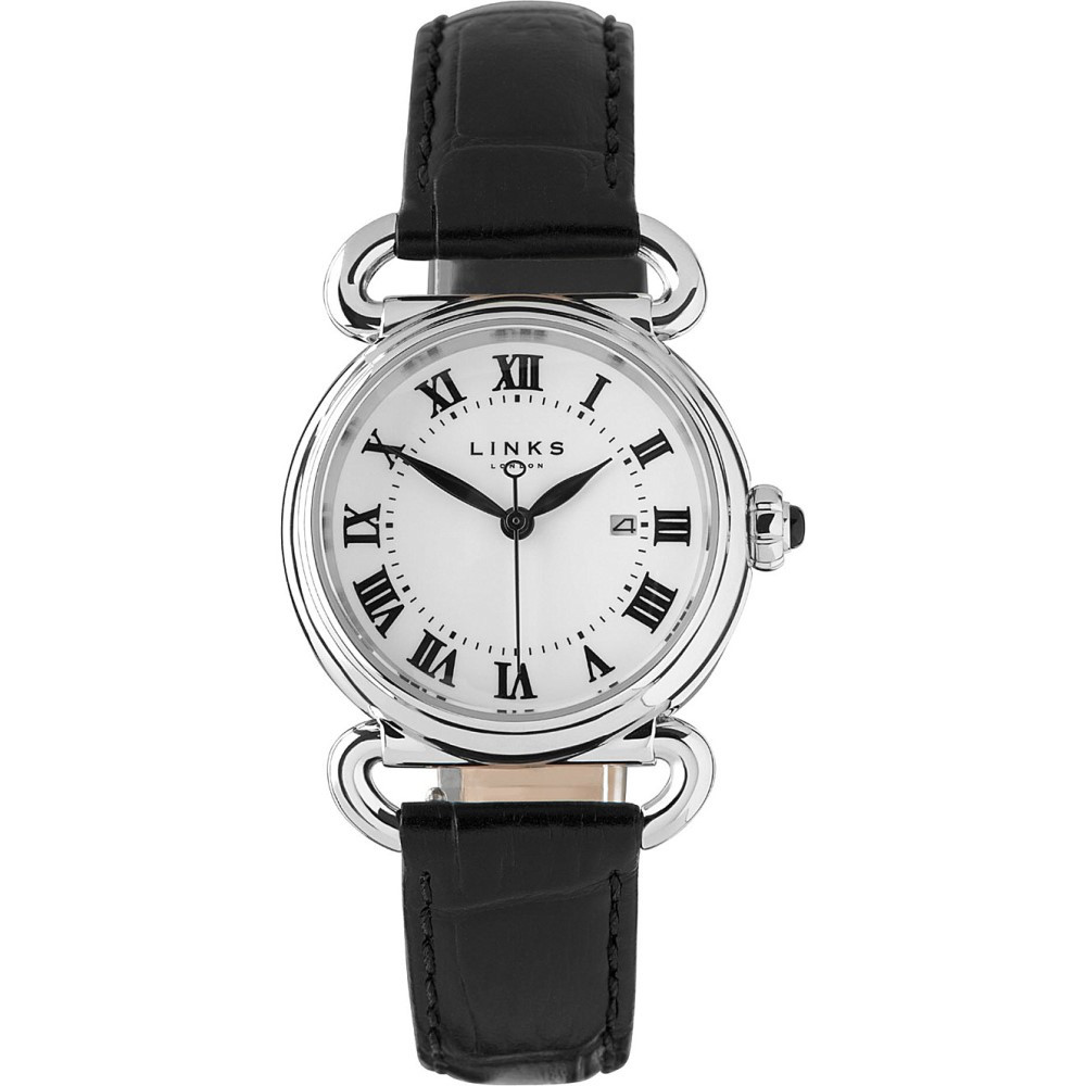 リンクス オブ ロンドン メンズ 腕時計【driver stainless steel and leather round watch】Black