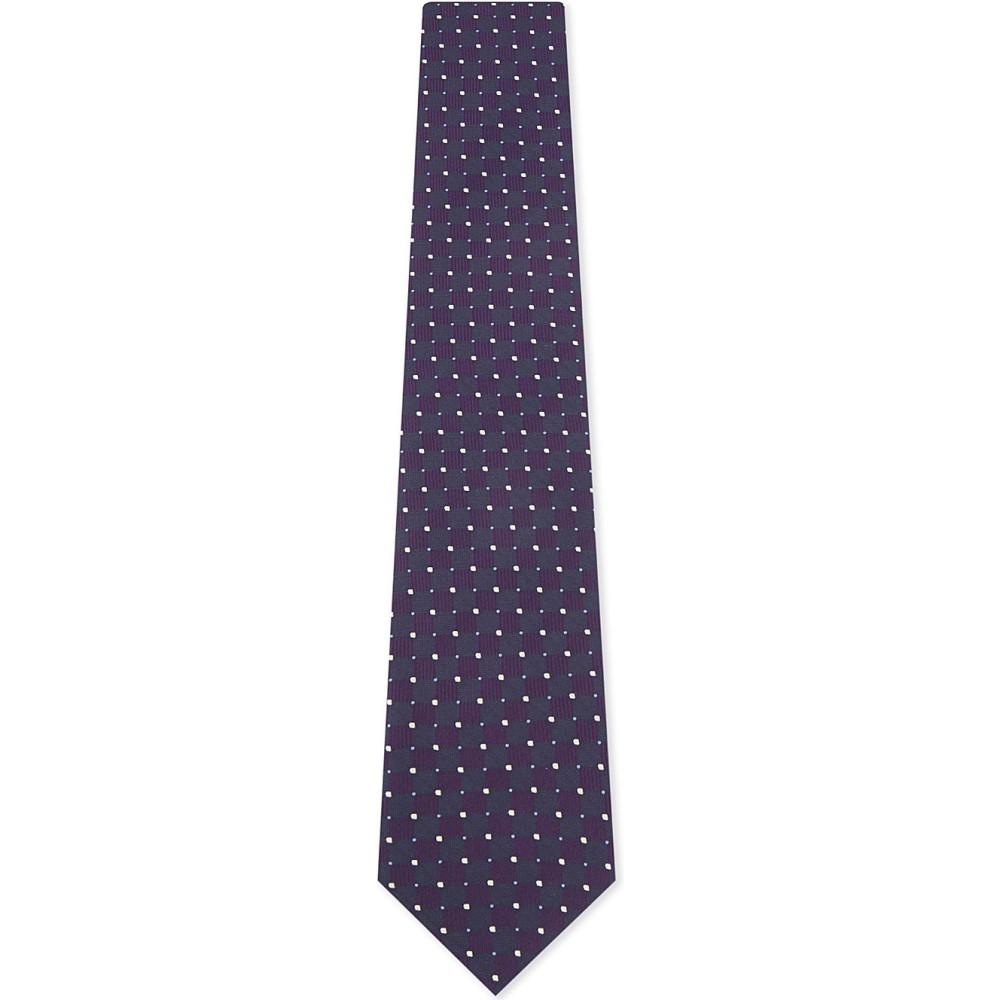 イートン メンズ ネクタイ【square and dot silk tie】Purple